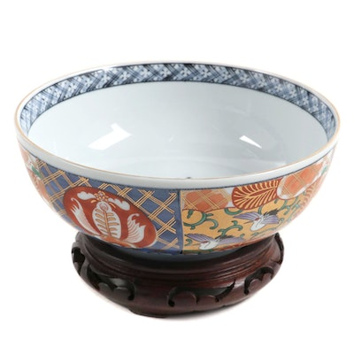 Chinese Imari Porcelain Bowl and Stand, Late 20th Century