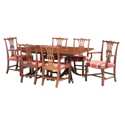 Baker Chippendale Style Mahogany Dining Table with Six Chairs, Mid-20th Century