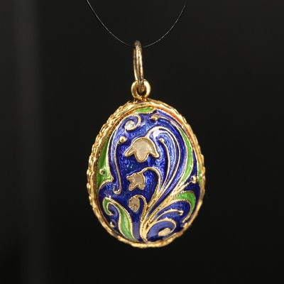 Sterling Cloisonné Enamel Lily of the Valley Egg Pendant