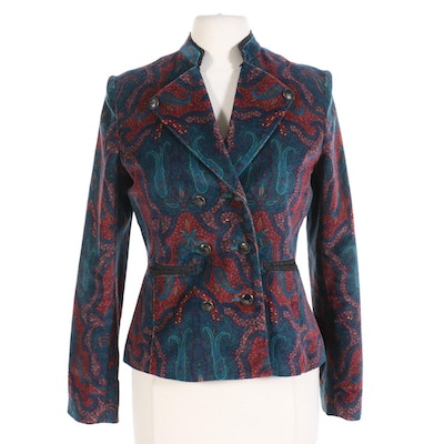 Robert Graham Double Breasted Jacket in Paisley Velvet