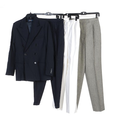 Ralph Lauren Double Breasted Blazer, Wool and Linen High Waisted Pants