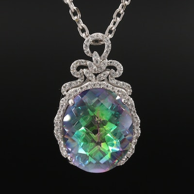 Sterling Silver Mystic Quartz and White Sapphire Pendant Necklace