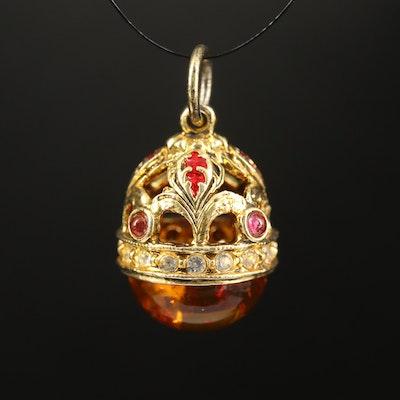 Sterling Amber, Enamel and Rhinestone Egg Pendant