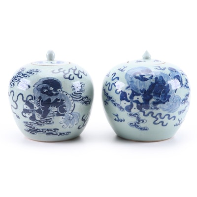 Chinese Guardian Lion Motif Porcelain Ginger Jars, Mid to Late 20th Century