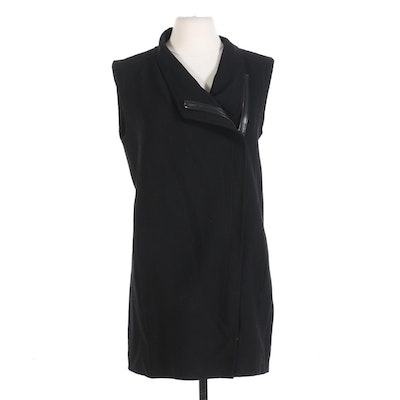 Vince Asymmetric Zippered Shift Dress in Black Wool