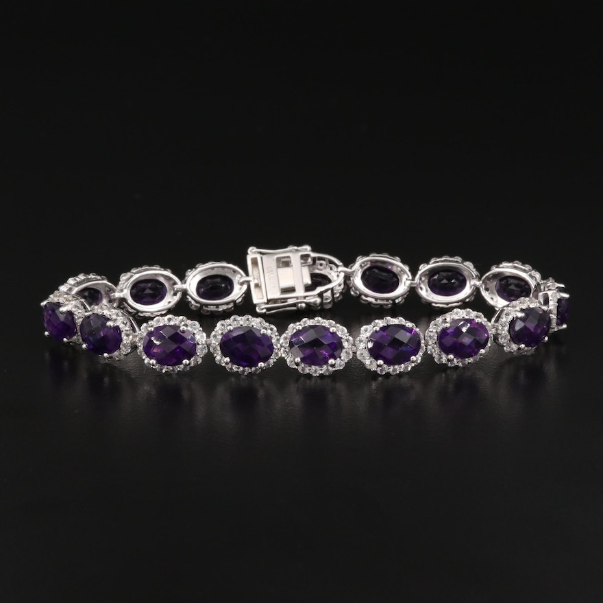Sterling Silver Amethyst and Topaz Halo Bracelet