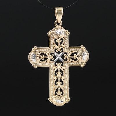 Openwork Diamond Cut Cross Pendant