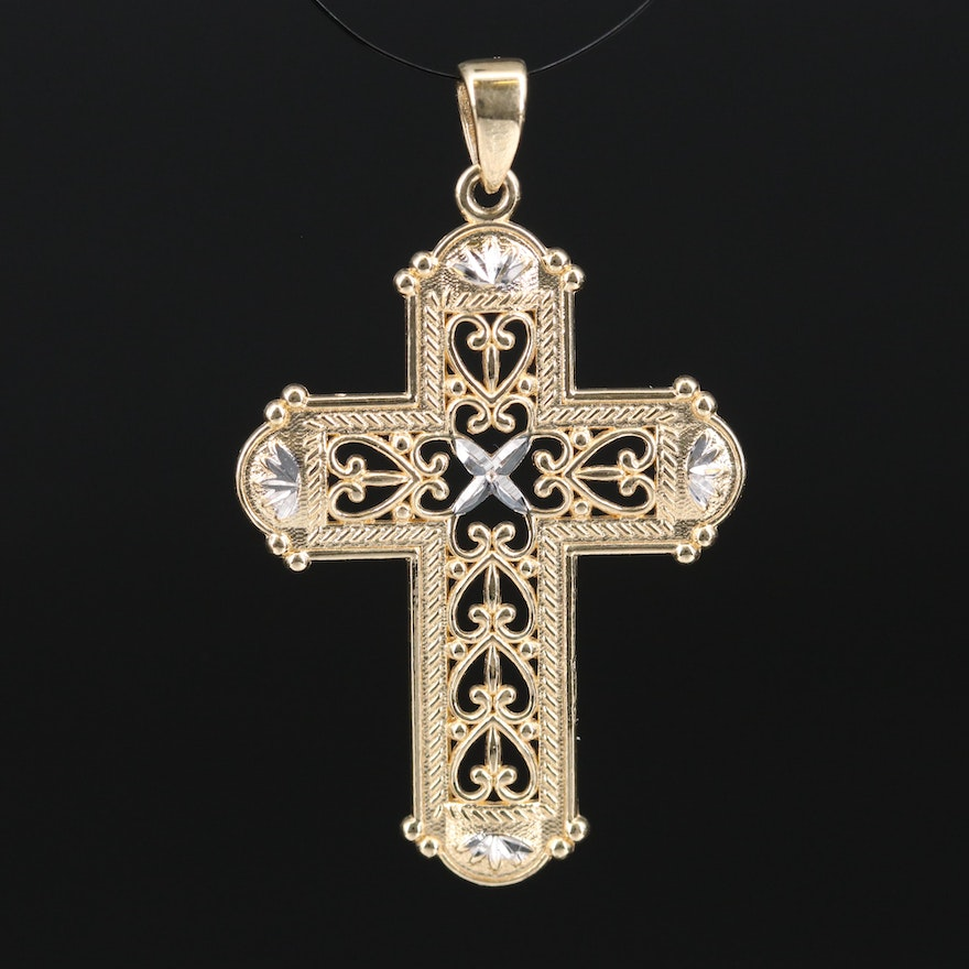 Openwork Diamond Cut Cross Pendant with Scroll Hearts