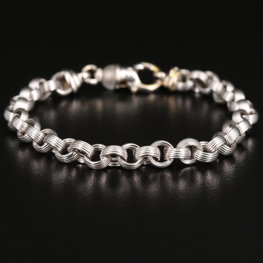 18K Rolo Bracelet with Quartz Accented Clasp