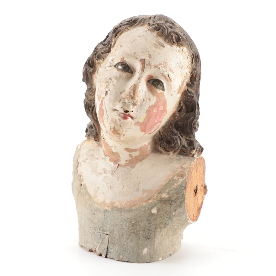 Wooden Bust of Crèche or Santos Doll with Glass Eyes, 19th Century