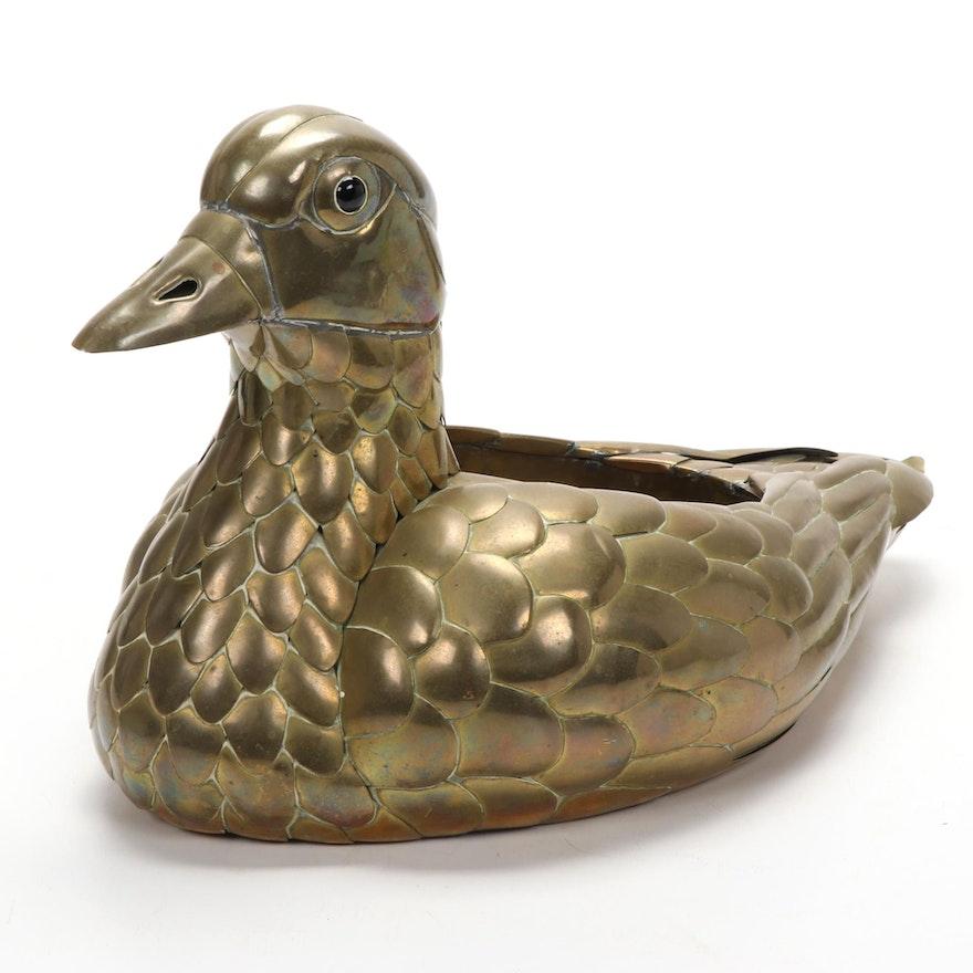Sergio Bustamante Style Brass Duck Planter
