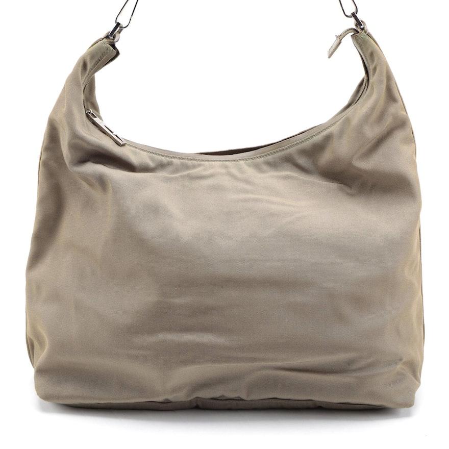 Gucci Olive Nylon and Leather Trim Hobo Shoulder Bag