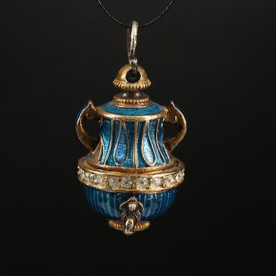 Sterling Amphora Charm with Enamel, Garnet and Rhinestones