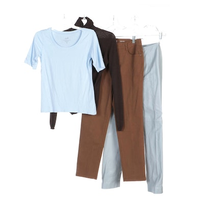Akris Cashmere Sweater, Cole Haan Leather Pants and Other Shirts