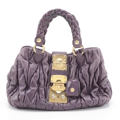 Miu Miu Bauletto Aperto Bag RN0473 in Purple Matelassé Lux Leather