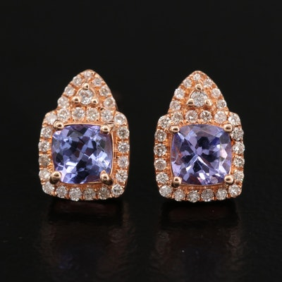 14K Rose Gold Tanzanite and Diamond Stud Earrings