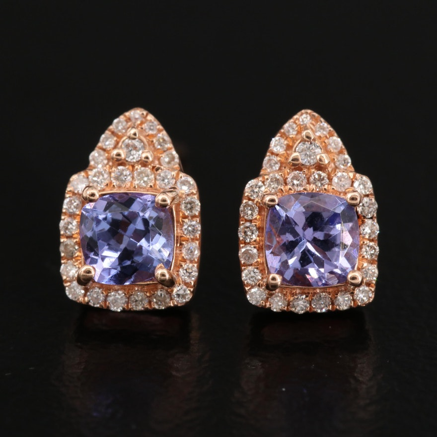 14K Rose Gold Tanzanite and Diamond Stud Earrings
