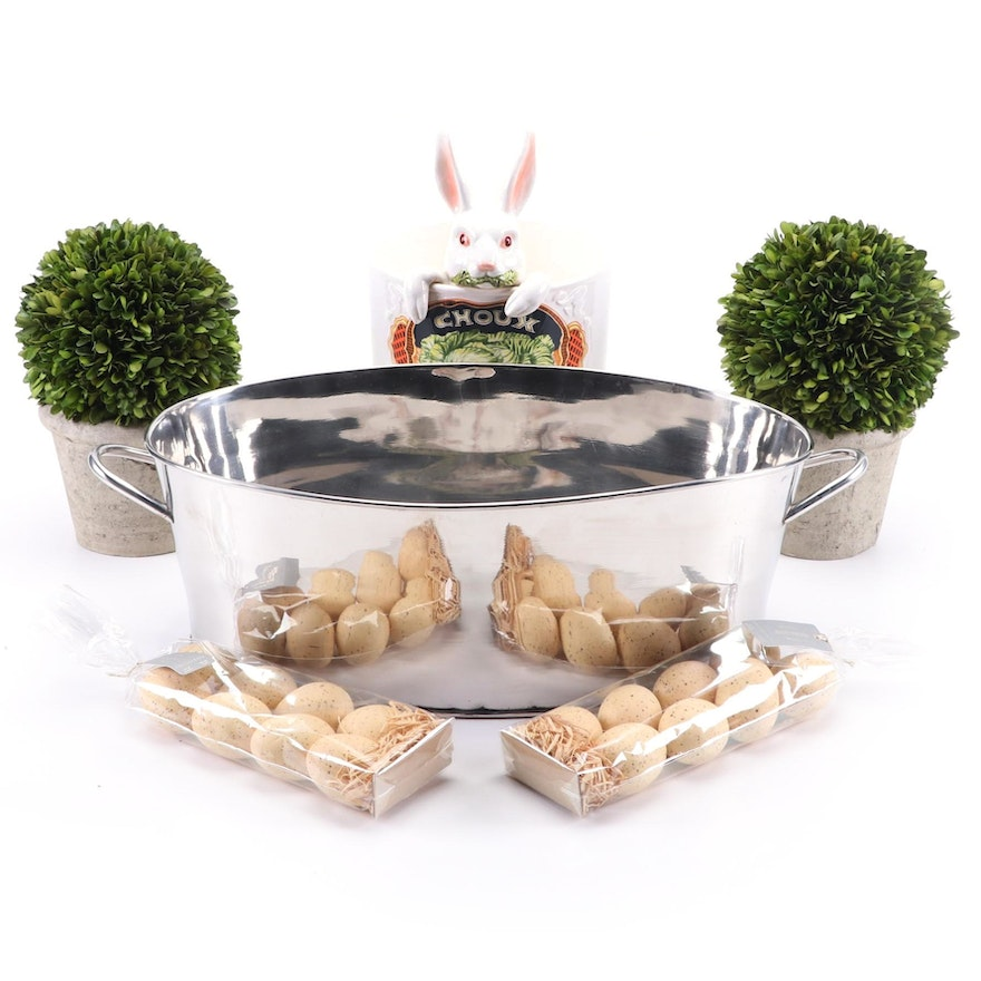 Restoration Hardware Boxwood Topiaries, Beverage Tub and Other Décor