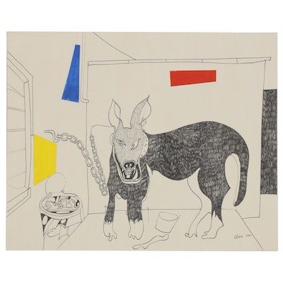 Eduardo Oliva Ink Drawing with Paper Collage, 1985