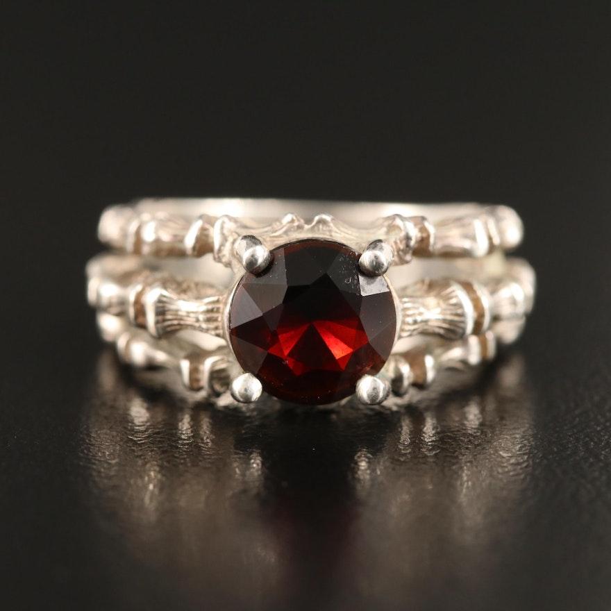 Sterling Garnet Bamboo Style Ring