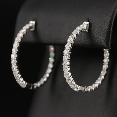 14K 3.01 CTW Diamond Inside-Out Hoop Earrings