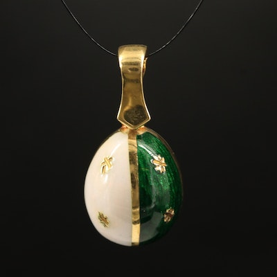 18K Guilloché Egg Enhancer Pendant
