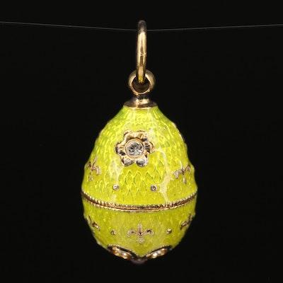 Sterling Silver Garnet, Rhinestone and Guilloché Egg