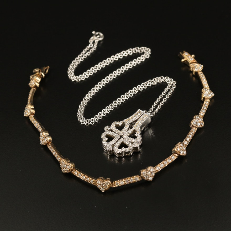 Sterling Heart Convertible Necklace and Bracelet