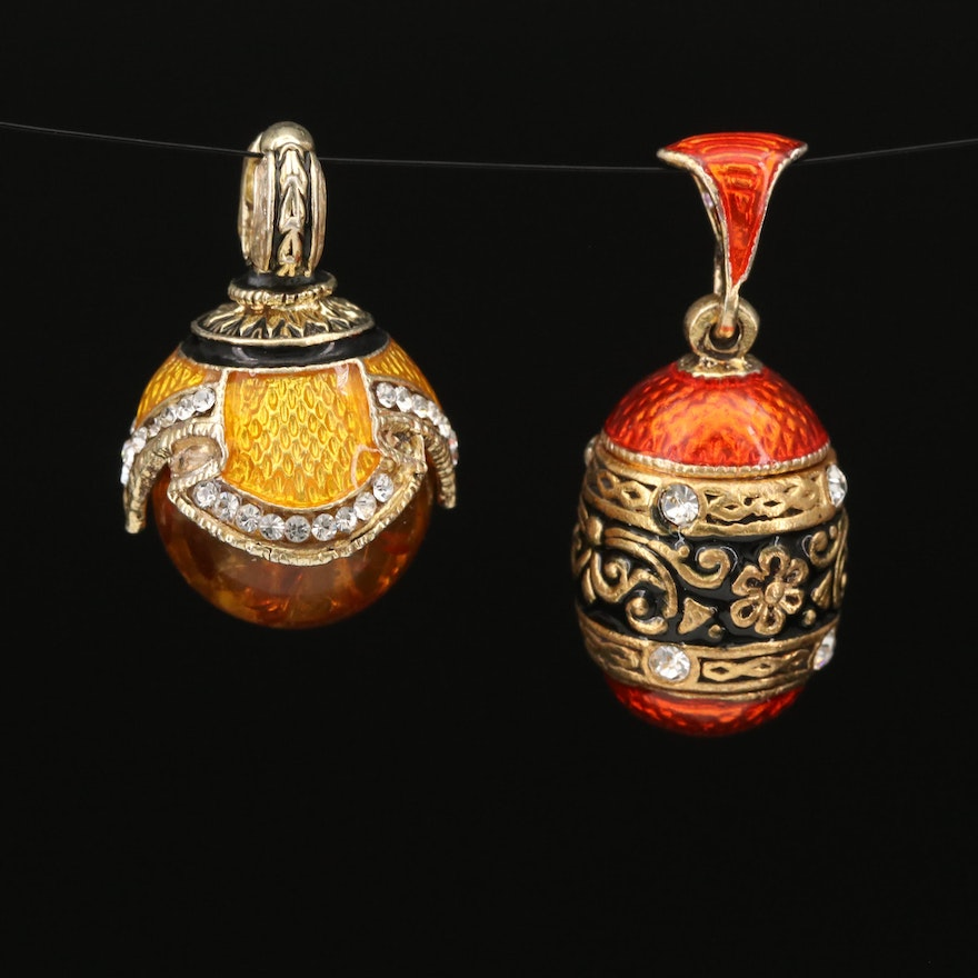 Sterling Silver Amber and Guilloché Pendants