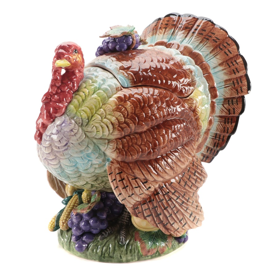 "Fitz and Floyd ""Autumn Bounty"" Ceramic Turkey Tureen with Ladle, 1993"