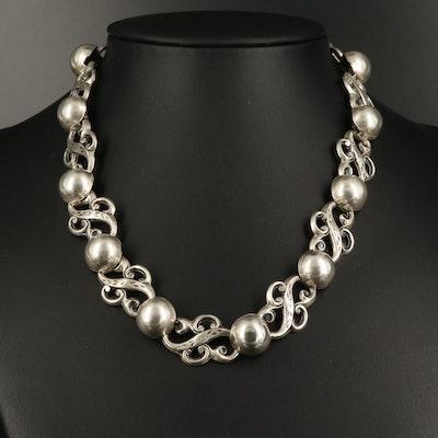 Vintage Jewel Art Sterling Scrollwork Link Necklace