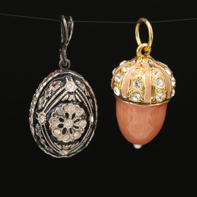 Sterling Guilloché Acorn and Russian Cloisonne Egg