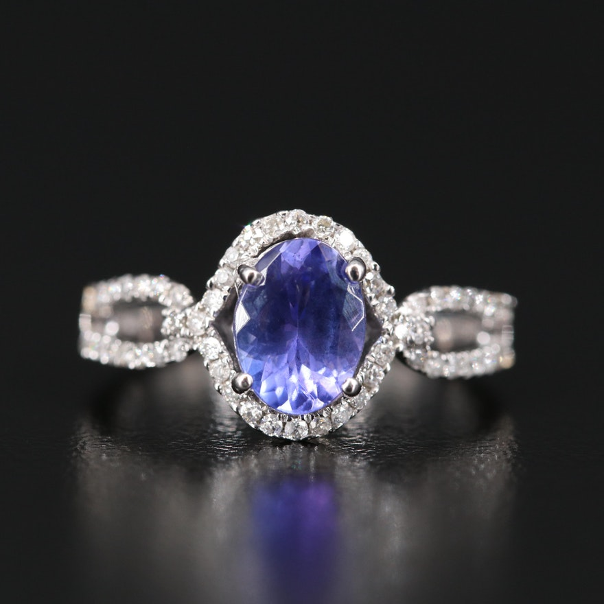 14K 1.40 CT Tanzanite and Diamond Ring
