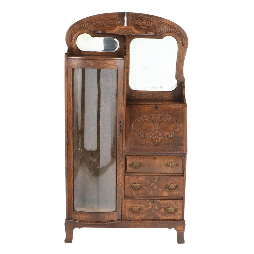 Late Victorian Quartersawn Oak Side-By-Side Desk, Late 19th/Early 20th Century