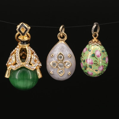 Egg Pendant Trio Featuring Cat's Eye Glass and Enamel