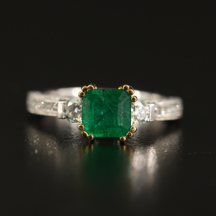 14K 1.19 CT Emerald and Diamond Ring