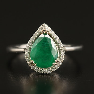 14K 1.71 CT Emerald and Diamond Teardrop Halo Ring