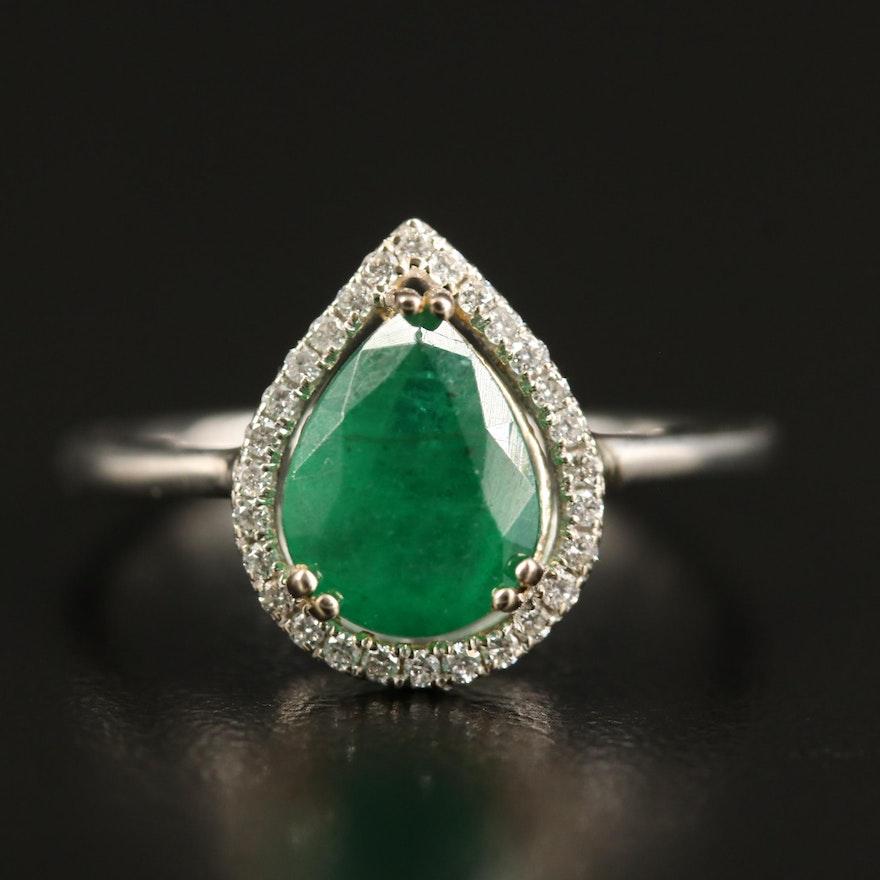 14K 1.71 CT Emerald and Diamond Teardrop Halo Ring