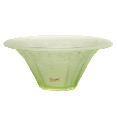 """Anchor Hocking """"Princess"""" Frosted Green Serving Bowl, 1931–1935"""