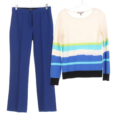 Neiman Marcus Cashmere Sweater with Theory Knit Blue Trousers