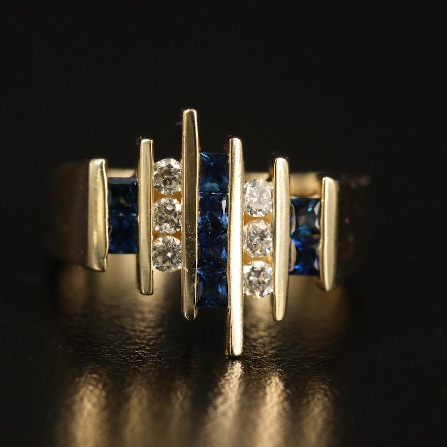 14K Diamond and Sapphire Multi-Row Euro Shank Ring