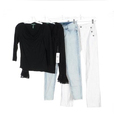 Ralph Lauren Jeans, Ruffle Collared Sweater and Black Shirt