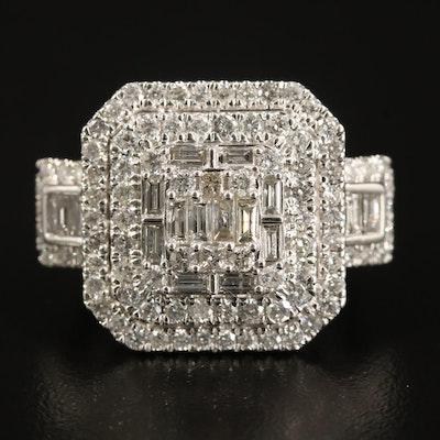 14K 2.43 CTW Diamond Double Halo Ring