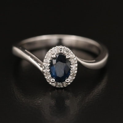 10K Sapphire and Diamond Halo Bypass Ring