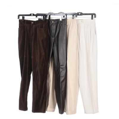 Ralph Lauren Velvet, Leather and Wool Pants with Valerie Stevens Pleated Pants