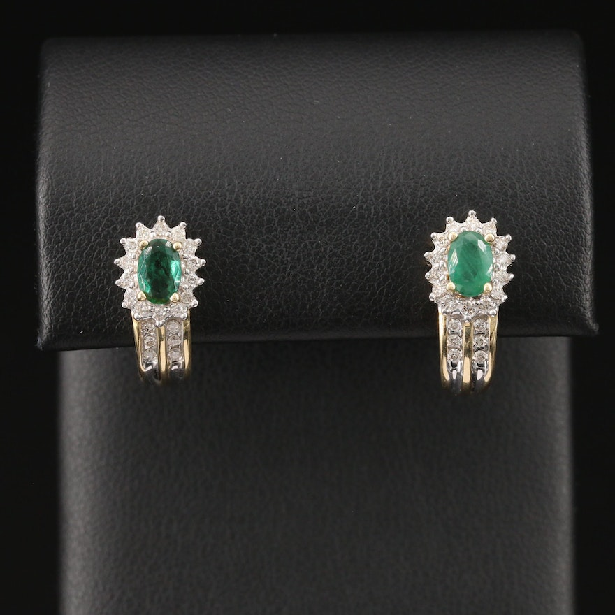 14K Emerald and Diamond J Hoop Earrings