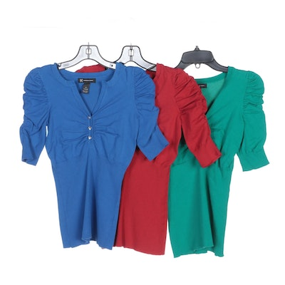 INC International Concepts Shirts with Ruched Sleeves and Embellished Buttons