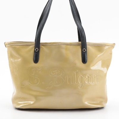 Bvlgari Embossed Patent Leather Tote with Black Leather Trim