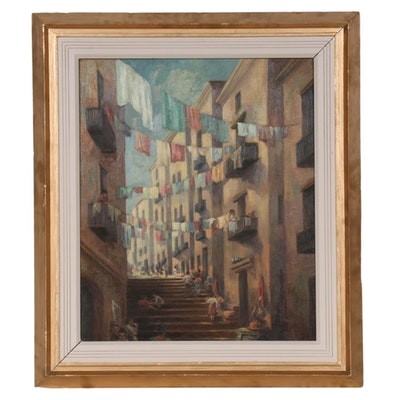 Charles E. Rubino Oil Painting of Italian Alley Scene with Clothing Lines