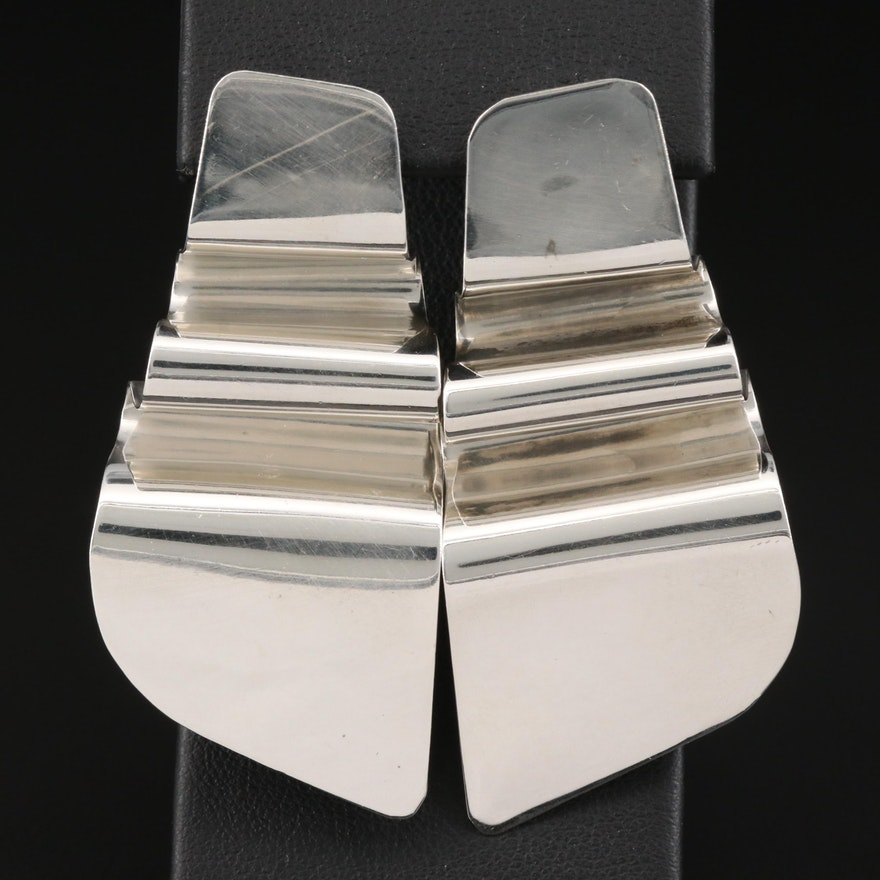 Sterling Silver Ripple Pattern Earrings